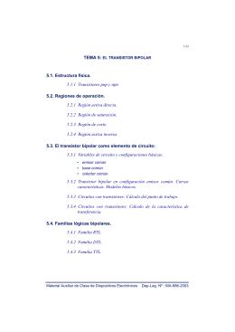 5.1. Estructura física. 5.1.1 Transistores pnp y npn 5.2. Regiones de
