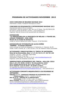PROGRAMA DE ACTIVIDADES NOVIEMBRE 2013