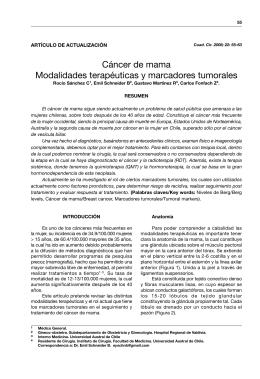 Cáncer de mama Modalidades terapéuticas y marcadores tumorales