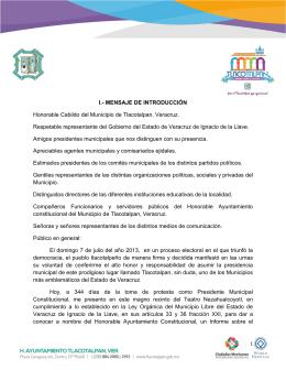 I.- MENSAJE DE INTRODUCCIÓN Honorable Cabildo del Municipio