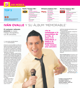 iván ovallE y su álbum `memorable`