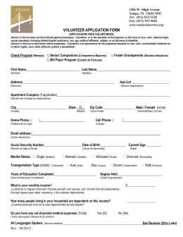 volunteer application form - Seniors in Service of Tampa Bay, Inc.