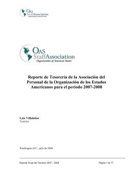 Reporte de Tesorería de la Asociación del Personal de la