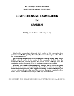 COMPREHENSIVE EXAMINATION IN SPANISH
