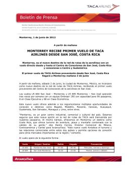 Monterrey recibe primer vuelo de Taca Airlines desde San