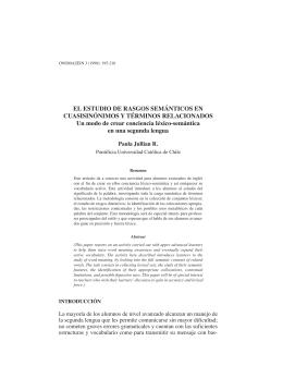 El estudio de rasgos semánticos en cuasisinónimos y