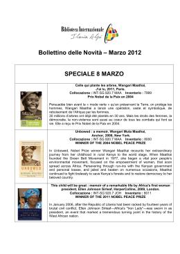 Bollettino delle Novità – Marzo 2012 SPECIALE 8