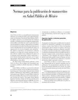 Normas para la publicación de manuscritos en Salud Pública de