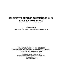 Crecimiento, empleo y cohesión social en la República Dominicana