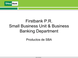 Firstbank P.R. Small Business Unit & Business Banking Department
