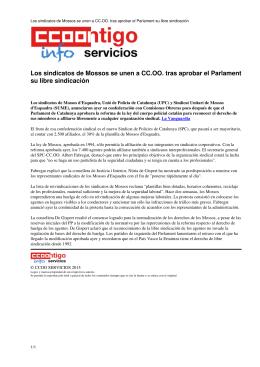 Los sindicatos de Mossos se unen a CC.OO. tras aprobar el