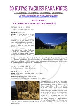RUTAS POR ZONAS ZONA: PARQUE NACIONAL DE ORDESA Y