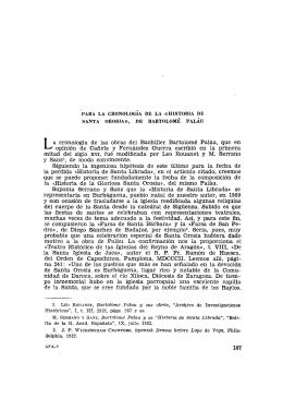 """Para la cronología de la """"Historia de Santa Orosia"""", de Bartolomé"""