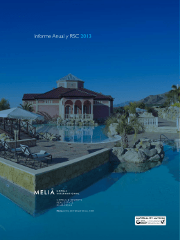 Informe Anual y RSC 2013 - Meliá Hotels International