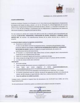 Invitación adquisición instalación de cocina, 03/09/2015, IIEG