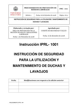 IPRL-1001 Instrucción de seguridad para la utilización y