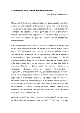 La sociología de la cultura de Pierre Bourdieu