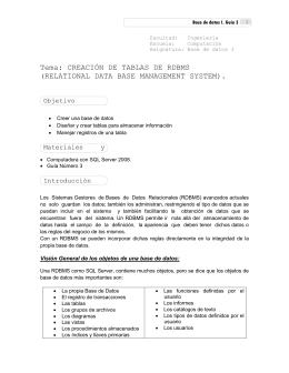 Tema: CREACIÓN DE TABLAS DE RDBMS (RELATIONAL DATA