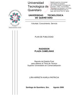 radisson plaza camelinas - Universidad Tecnológica de Querétaro