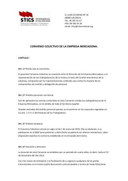 CONVENIO COLECTIVO DE LA EMPRESA MERCADONA.
