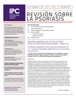 reViSiÓN SObre LA PSOriASiS - International Psoriasis Council