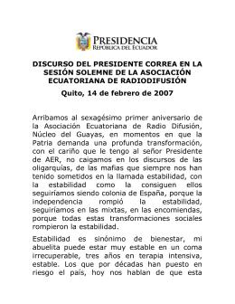2007-02-11 Discurso Sesión Solemne Asociación Ecuatoriana de