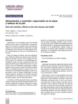 Alimentación y nutrición: repercusión en la salud y belleza de la piel