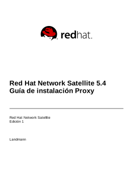 Red Hat Network Satellite 5.4 Guía de instalación Proxy