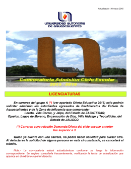 Admisión UAA 2015 - Universidad Autónoma de Aguascalientes