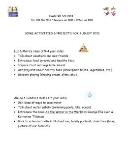 HMB preschool AUGUST ACTIVITIES