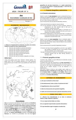 Actividad de - Aprestamiento: Generalidades: Localización de Asia