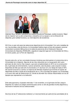 Alumna de Psicología reconocida como la mejor deportista UC