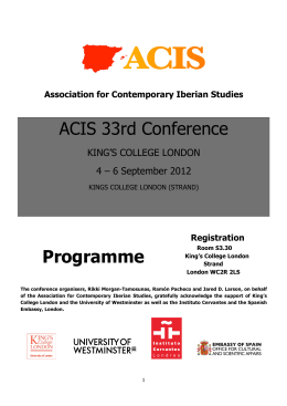 ACIS 33rd Conference Programme - Association for Contemporary