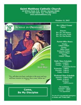 October 11, 2015 - St. Matthew Catholic Church