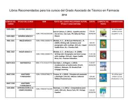 Libros Recomendados por curso para Estudiantes del Programa de