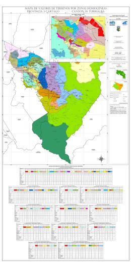 Mapa del Cantón Turrialba 05, Distrito 01 a 12