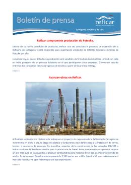 Octubre 4 / Reficar compromete producción de Petcoke.