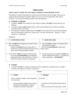"""Page 1 of 4 Palabras confusas ¿Cómo """"traducir"""" to realize, ask, work"""