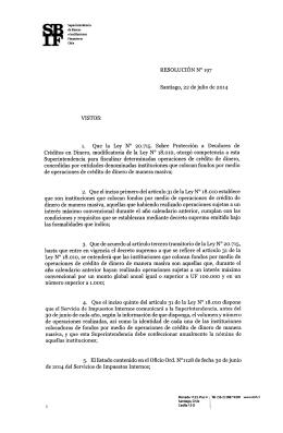 SBIF.cl - Resolución 197 sobre fiscalización de la Ley 18.010
