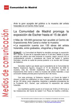 La Comunidad de Madrid prorroga la exposición de Escher hasta el