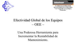 Efectividad Global de los Equipos – OEE –