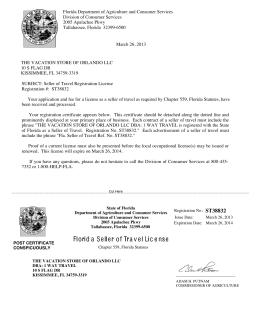 Florida Seller of Travel License