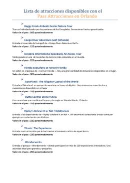 Lista de atracciones disponibles con el Pass Attracciones en Orlando