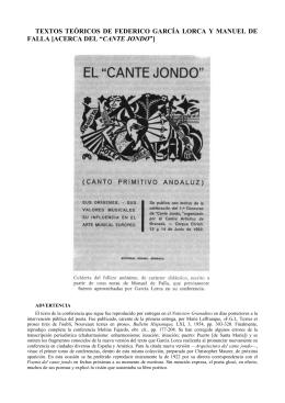 TEXTOS TEÓRICOS DE FEDERICO GARCÍA LORCA Y MANUEL