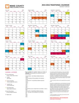 2015-2016 TRADITIONAL CALENDAR