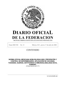 Norma Oficial Mexicana NOM-036-SSA2