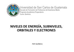 NIVELES DE ENERGÍA, SUBNIVELES, ORBITALES Y