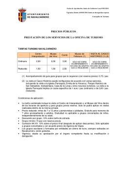 precios públicos prestación de los servicios de la oficina de turismo