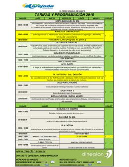 TARIFAS Y PROGRAMACIÓN 2015