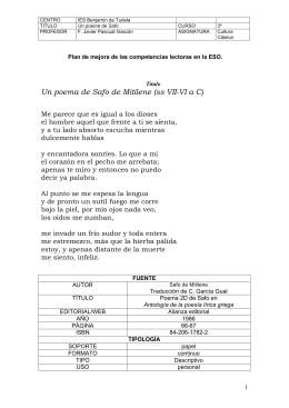 Un poema de Safo de Mitilene (ss VII-VI a C)
